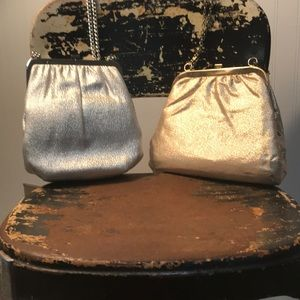 Two Vintage 1960s Lame' Evening Bags EUC